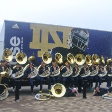 adidas college marketing with Notre Dame's marching band tuba section