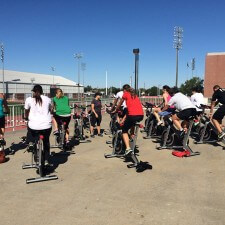 college experiential marketing with an outdoor spinning class