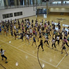 an experiential marketing aerobics class on the college campus