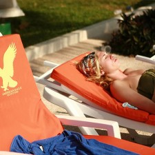 American Eagle beach chair cushions as part of their marketing to youth on spring break campaign