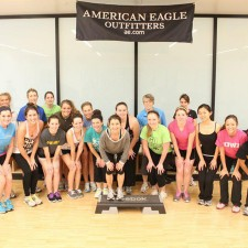 American Eagle college brand ambassadors are ready for step aerobics