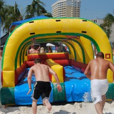 Fuze's experiential marketing campaign included inflatable water slides for college students on spring break