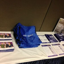 College marketing: a table display with GRE promotional items