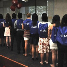 ETS distributes cinch bags for colllege peer to peer marketing of the GRE