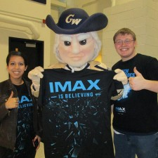 brand ambassadors--and the school mascot--at George Washington University spread the IMAX message