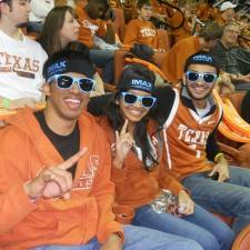 IMAX brand ambassadors at the University of Texas use peer to peer marketing during a football game