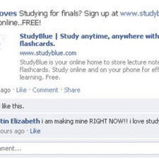 Brand ambassadors for Study Blue use word of mouth marketing through Facebook posts