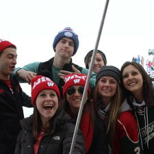 University of Wisconsin college brand ambassadors pose for a selfie in their adidas gear