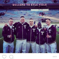 Texas A&M college brand ambassadors sport retro Aggie sweaters from adidas