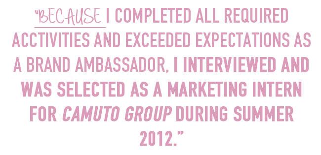 experience as a brand ambassador led to marketing internship