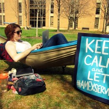University of Tennessee AmEx Serve brand ambassador in a hammock