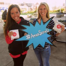 female AmEx Serve college brand ambassadors with hashtag: #amexserveu