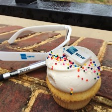 AmEx Serve promo cupcake, pen and sunglasses