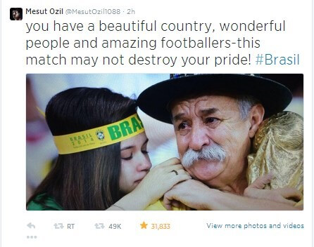 tweet about Brazilian World Cup loss