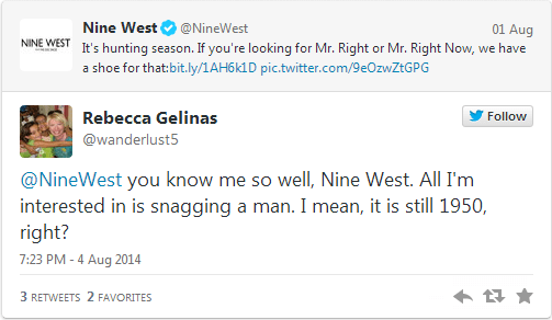 tweet to Nine West about husband hunting