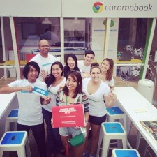 google chromebook college brand ambassadors pose at the lending library