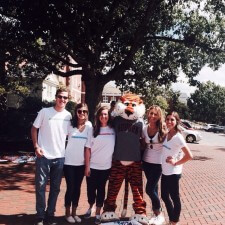 Auburn's mascot hangs out with google chromebook's college brand ambassadors