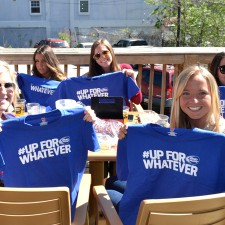 Bud Light college brand ambassadors show off their Up for Whatever t-shirts