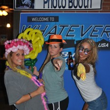 College females take advantage of Bud Light's photo booth, part of their experiential marketing campaign