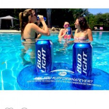 Bud Light's college brand ambassador shares a pool-side photo on Instagram: word of mouth marketing