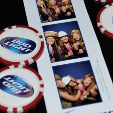 Experiential marketing evidence: photo booth images and Bud Light poker chips