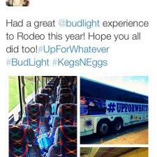 College brand ambassadors use word of mouth marketing about their Bud Light bus to the rodeo