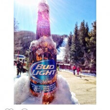 Instagram word of mouth marketing: Bud Light chilling in snow