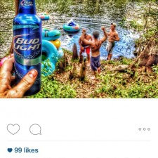 Instagram word of mouth marketing: drinking Bud Light while inner tubing