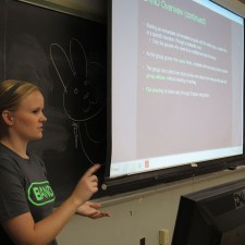 A Band college brand ambassador conducts a peer to peer marketing presentation