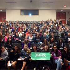 Students attend a Band peer to peer marketing presentation on campus