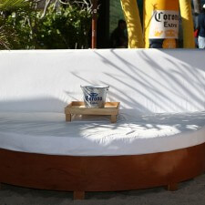 Experiential marketing beach lounges included Corona beer pails and comfortable seating