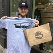 College marketing with Timberland t-shirts