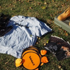 Marketing to millennials with Timberland gear, including t-shirts, water bottles, frisbees and more