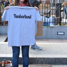 College brand ambassador shows off her Timberland t-shirt