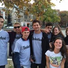 College brand ambassadors sport Timberland t-shirts