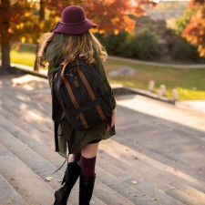 A Timberland college brand ambassador poses for a fall photo shoot
