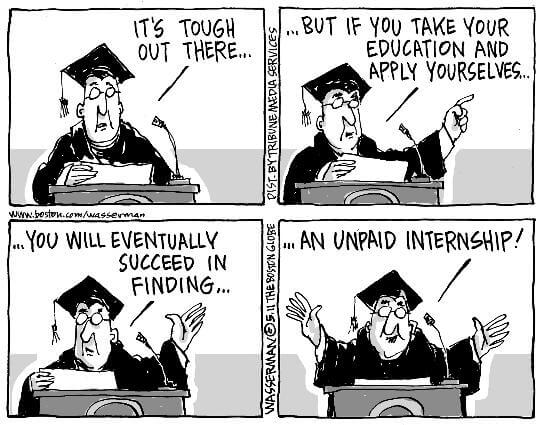 unpaid internship in college cartoon