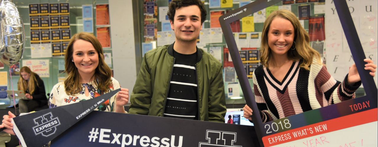 campus reps for Express with branded materials