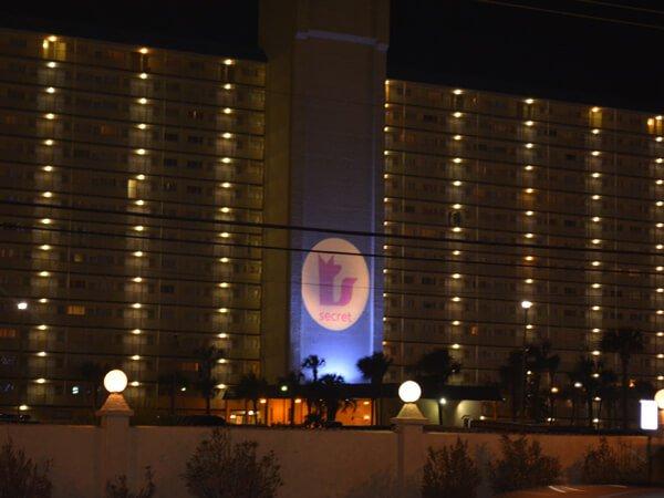 Marketing to millennials on spring break: Secret logo lights up a Panama City Beach hotel